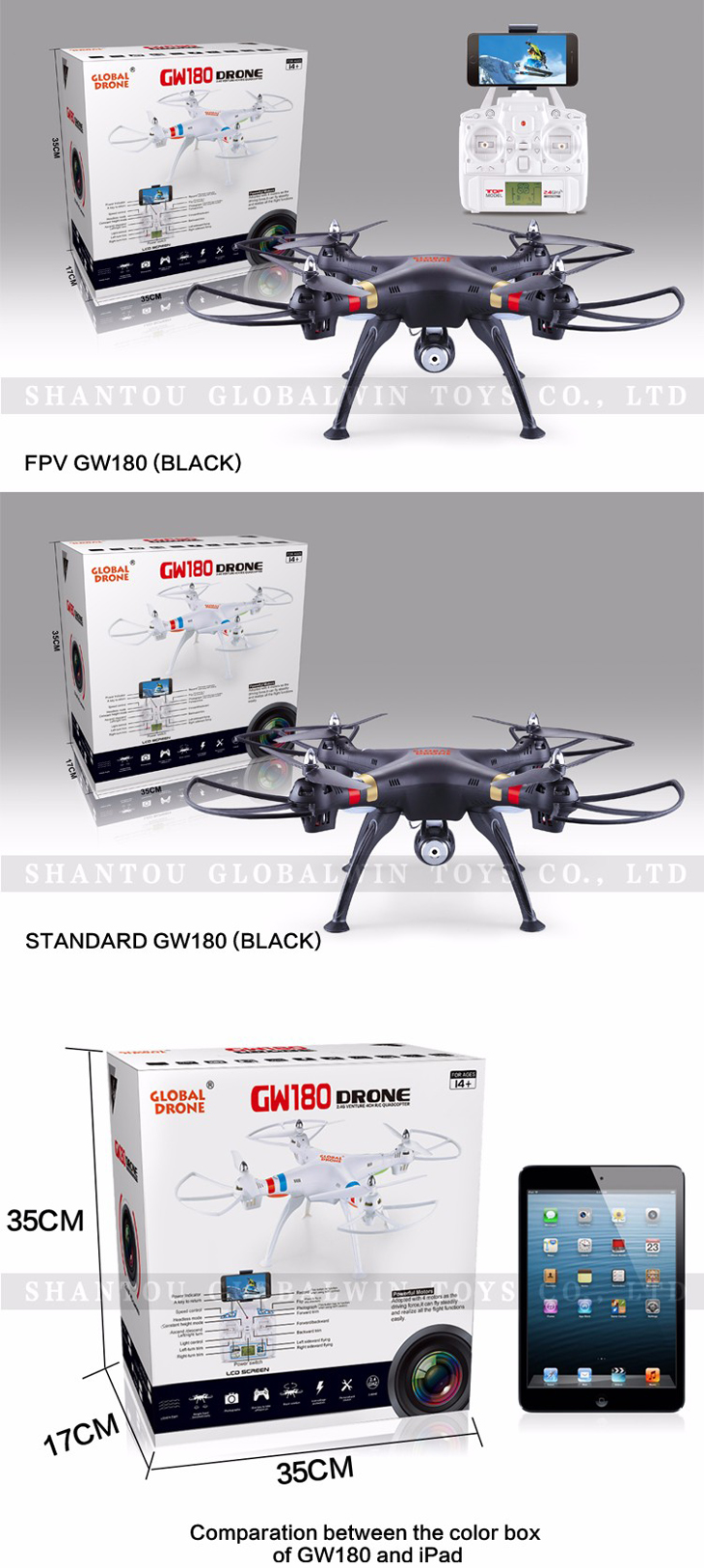 12Global Drone GW180 Dron with Camera WIFI HD FPV Hovering Quadrocopter Can Carry 4K Camera Drones