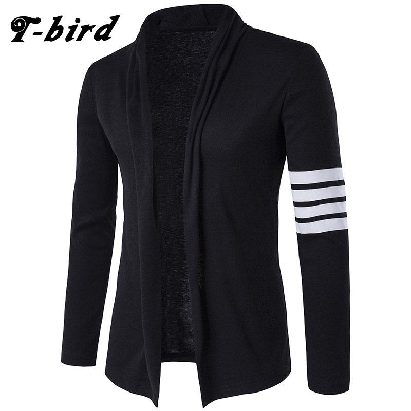 T-bird 2018 Brand New Sweater Men Concise V-Neck Sweater Coat Cardigan Male stripe Slim  ...