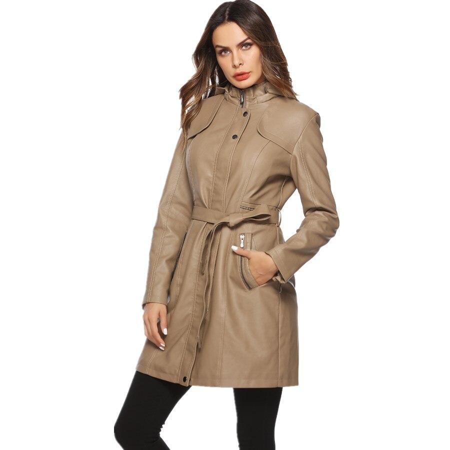 Fashion brand longer style velvet lining inside warm pu   leather   jackets female elegant long sleeve warm   leather   jacket wq672
