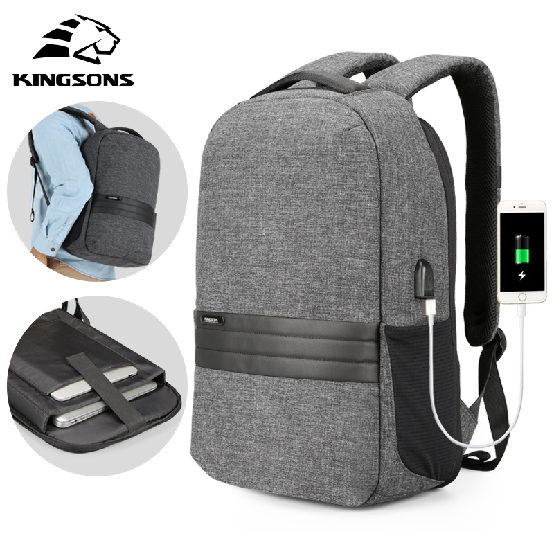 Kingsons Men Backpacks 15.6 inches Shoulder Bags in Men's Casual Daypack for Business Laptop Backpack USB Recharging Travel Bag-in Backpacks from Luggage & Bags    1