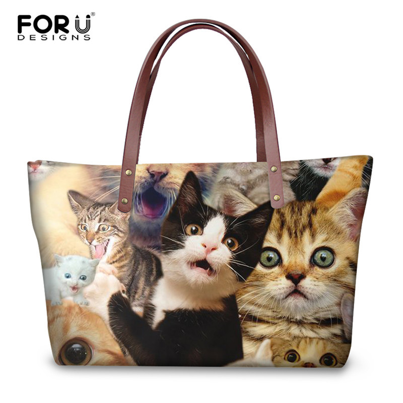 FORUDESIGNS 3D Selfie Dog Cat Print Handbags Luxury Women High Quality Tote Bags Fashion Ladies Girls Durable Shopping Bag Bolsa forudesigns fashion women drawstring bags william morris print mini string rucksacks for female reusable storage backpacks bolsa