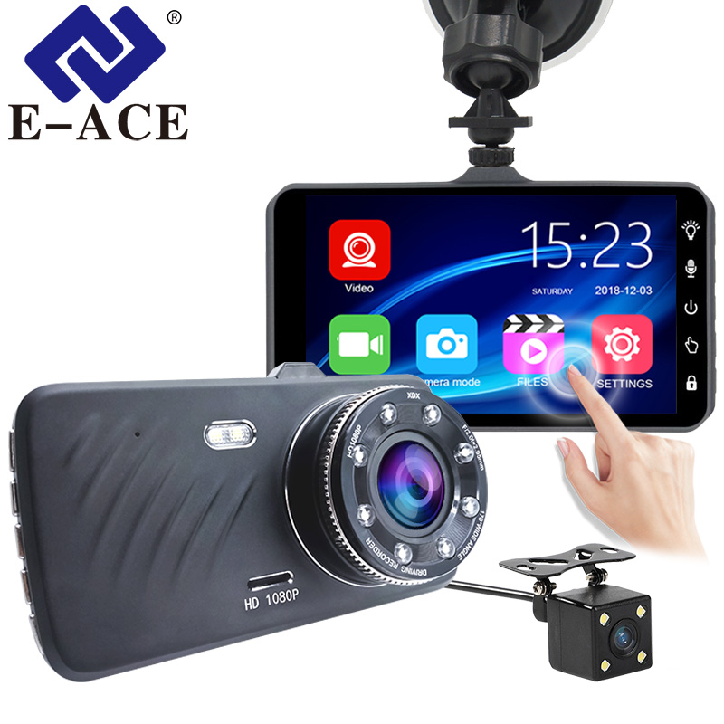 E-ACE Car DVR 4 Inch Touch Auto Camera Dual Lens Dash Cam Video Recorder FHD 1080P Registrator With Rear View Camera Dashcam