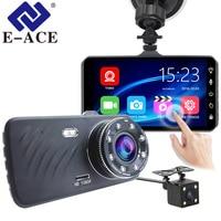 E ACE Car DVR 4 Inch Touch Auto Camera Dual Lens Dash Cam Video Recorder FHD 1080P Registrator With Rear View Camera Dashcam