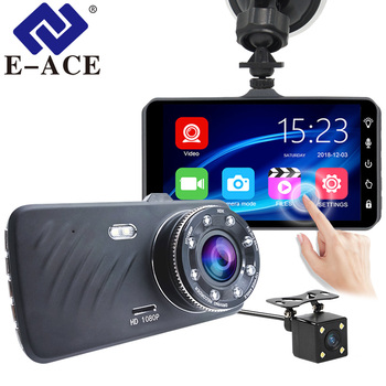 """E-ACE B23 HD 1080P Dual Lens Car Dash Cam with 4"""" Touch Display"""