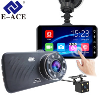 E ACE Car DVR 4 Inch Touch Auto Camera Dual Lens Dash Cam Video Recorder FHD 1080P Registrator With Rear View Camera Dashcam
