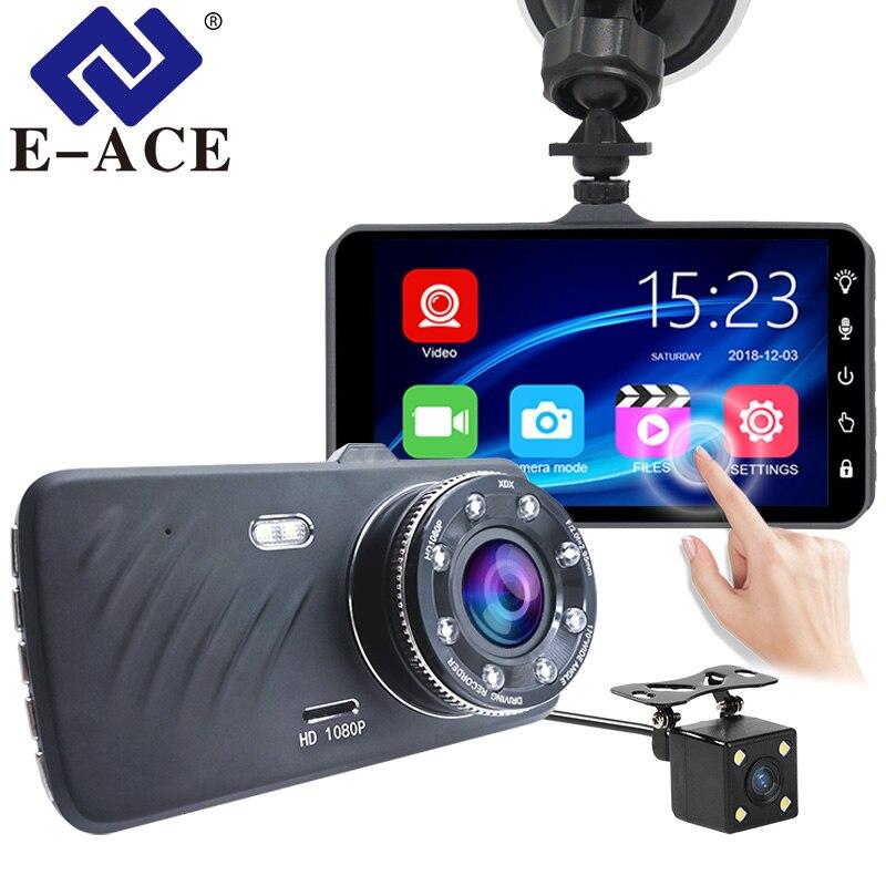 E-ACE voiture DVR 4 pouces tactile Auto caméra double lentille Dash Cam enregistreur vidéo FHD 1080 P enregistrement avec caméra de vue arrière Dashcam