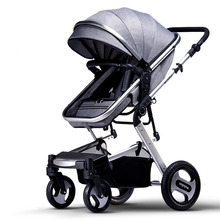 High Landscape Baby Stroller Can Sit Lie Down 4 Wheels Suspension Portable Baby Pram Folding Bidirectional