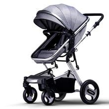 High Landscape Baby Stroller, Can Sit & Lie Down, 4 Wheels Suspension, Portable Baby Pram, Folding Bidirectional Pushchair