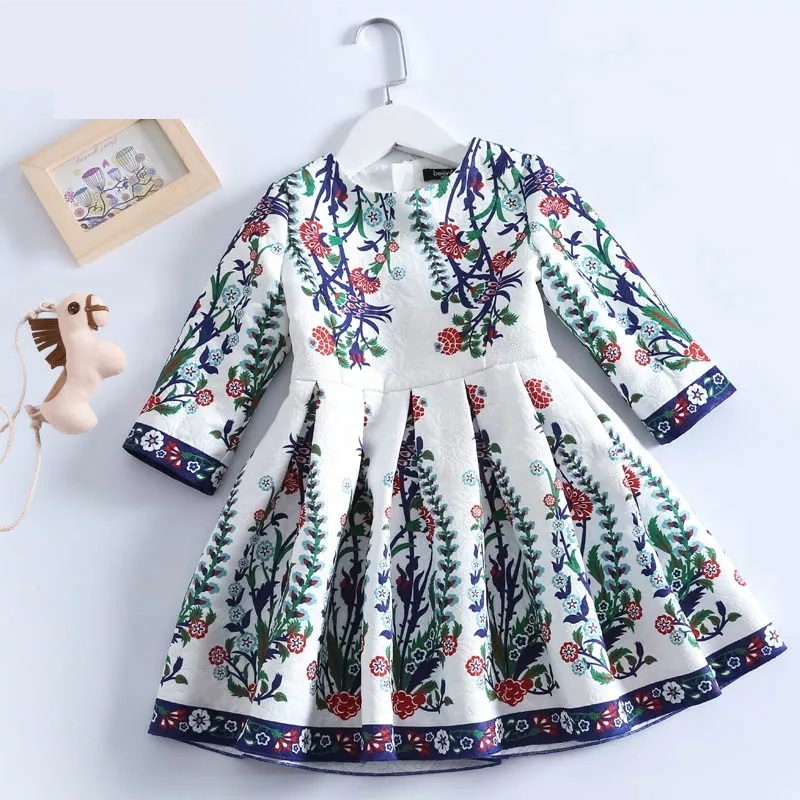 Spring Mom & Kids girls Clothing Family Matching Outfits children girl Fashion floral full sleeve Dress Mother daughter dresses 2016 spring family fashion clothing half sleeve elegant floral print dress clothes for mother and daughter baby girls dresses