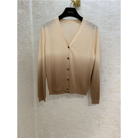 Одежда женская осенняя и зимняя новая шерстяная смесь вязаный кардиган вышивка пчела градиент Цвет свитер