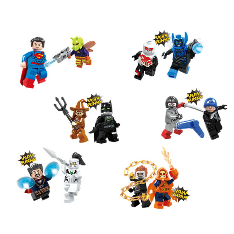 12pcs Dr Strange Suicide Squad Figure Set Ghost Rider Katana Batman Captain Boomerang Hobgoblin Building Blocks Super Hero toys