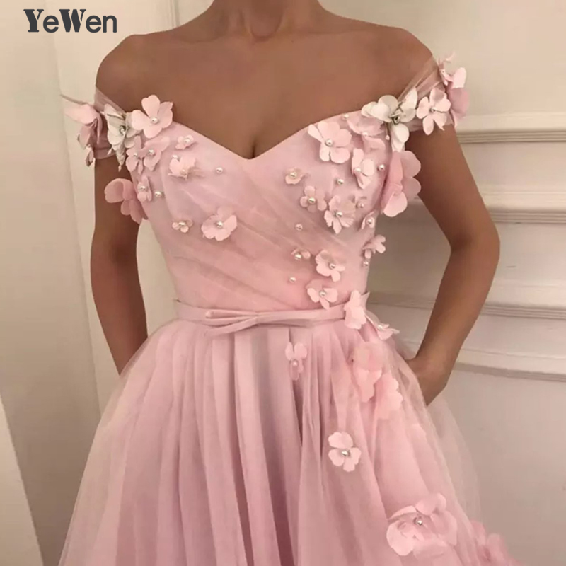 Off Shoulder Sexy Arab Evening Dresses Pink Blue Colored Flowers Fashion Party Prom Formal Evening Gowns 2019 YeWen