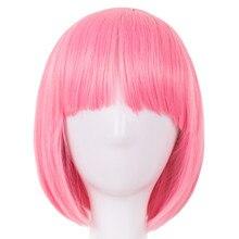 Розовый парик Fei-Show синтетические термостойкие короткие волнистые волосы, парик Pelucas костюм мультфильм ролевые Cos-play Боб студента парик