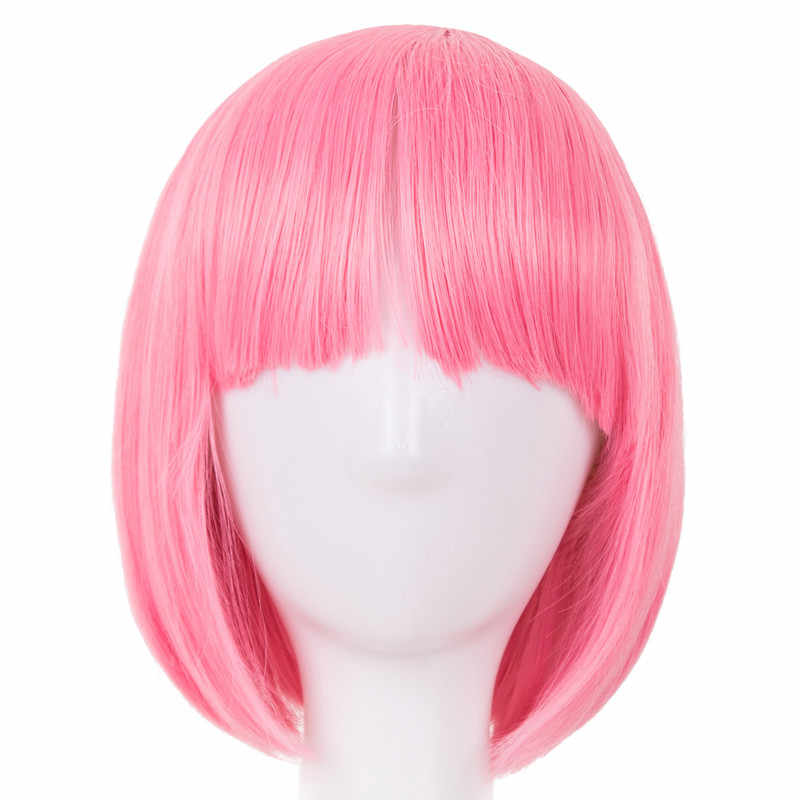 Pink Wig Fei-Show Synthetic Heat Resistant Short Wavy Hair Peruca Pelucas Costume Cartoon Role Cos-play Bob Student Hairpiece