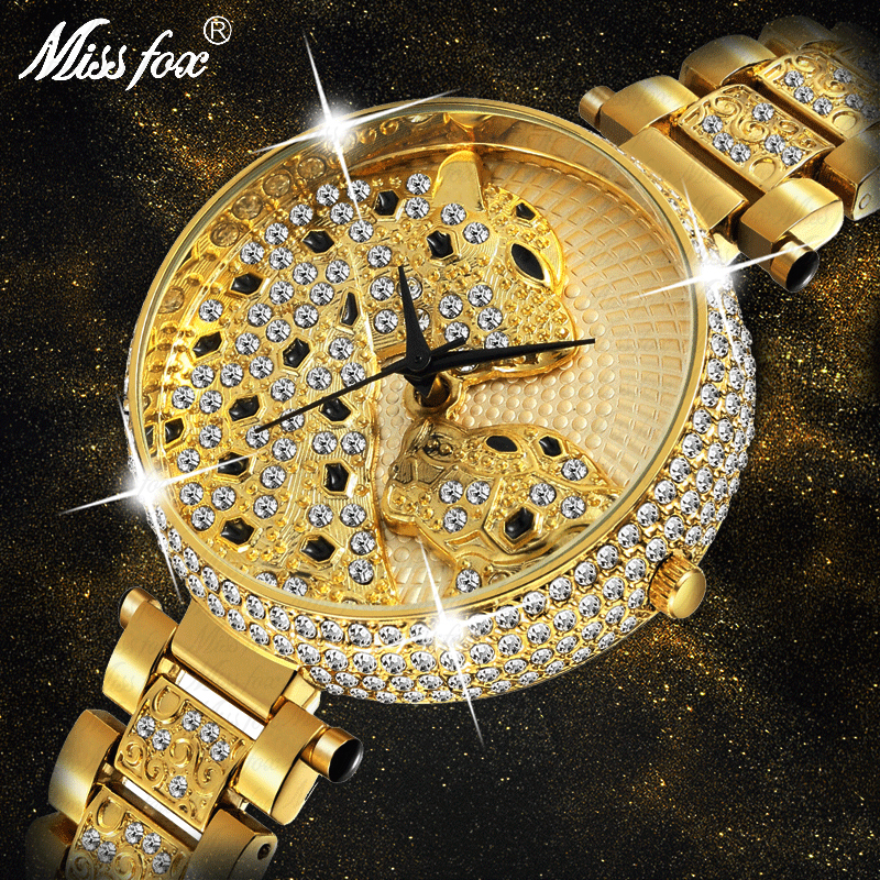 MISSFOX Women Watch Women Fashion Designer Brand Luxury Women Wrist Watch Gold Leopard Clouds Diamond Ladies Watch Quartz Clock