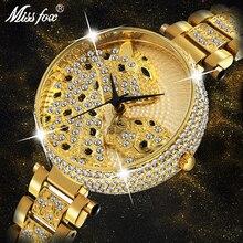 MISSFOX kadınlar İzle kadınlar moda tasarımcısı marka lüks kadın kol saati altın leopar bulutlar elmas bayanlar izle kuvars saat
