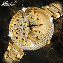 Missfox relógio feminino moda designer marca de luxo feminino relógio de pulso ouro leopardo nuvens diamante senhoras relógio de quartzo
