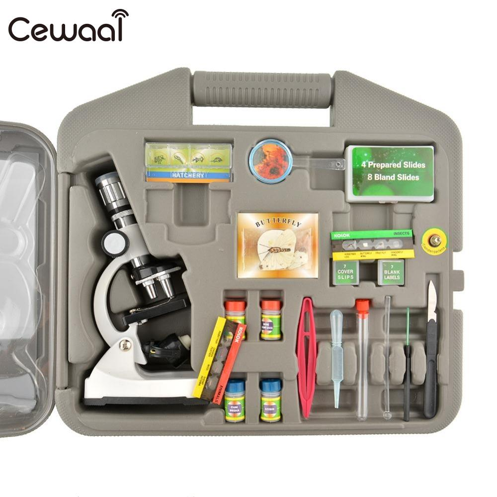 Cewaal Durable 300X-600X-1200X Metal Body Beginner Biological Zoom Microscope Kit Kids Students Gift dhl free shipping top quality 900x microscope with 28 piece kit alloy material for students kids education