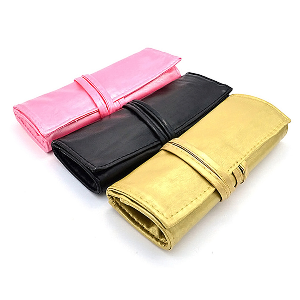 1pc Wrap Roll Up Pen Makeup Brushes Case Holder Cosmetic Brushes Belt Strap Pouch PU Leather Srorage Bag Beauty Makeup Tool