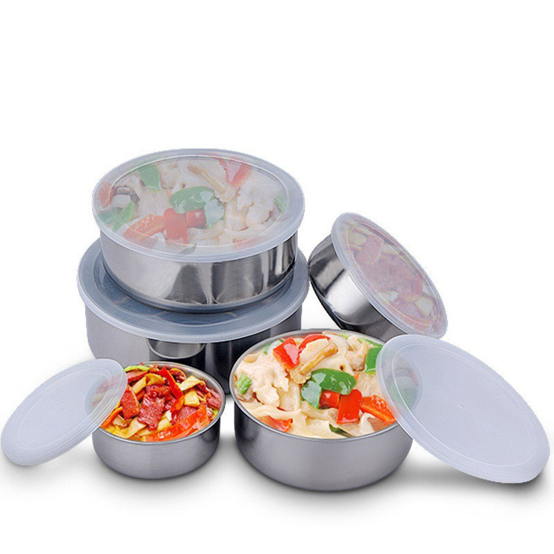 Round Shape Preservation Bowls Tools Stainless Steel Kitchen Dinnerware Food Container Lunch Box silver size5 6