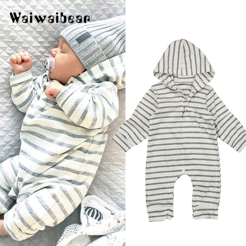 Autumn New Toddler Romper Newborn Baby Warm Infant Rompers Striped Jumpsuit Hooded Clothes Long Sleeve Outfit For Boys And Girls kids ruffle tie neck striped romper