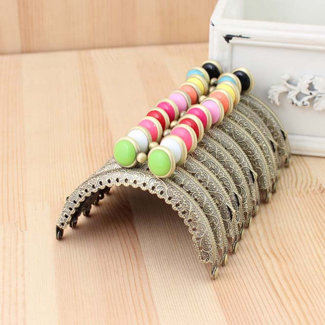 10pcslot 85cm colorful flat bead metal purse frame semicircle antique bronze brass lace coin purse framesfreeshipping jy01 1