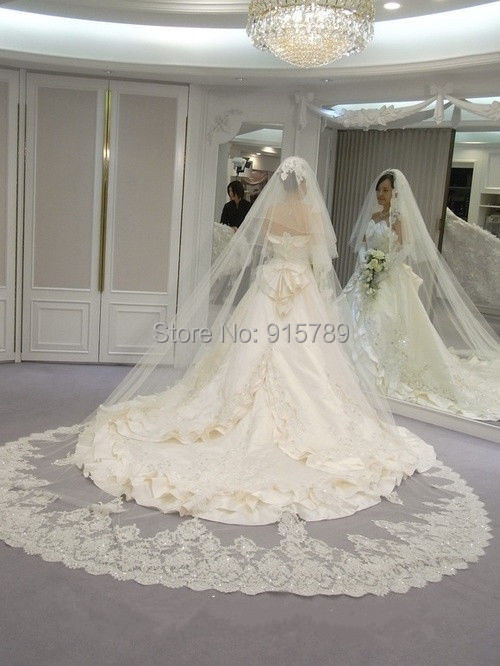 Two Tier Long Cathedral Length Bridal Wedding Veil Lace Edge White Ivory Free Comb In Veils From Weddings Events On Aliexpress Alibaba Group