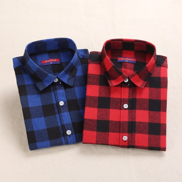 New Womens Flannel Shirt Women Long Sleeve Blouse Winter Plaid Female Red
