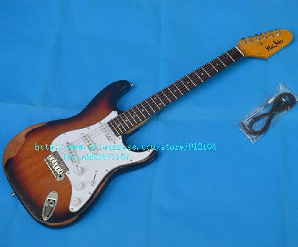 Livraison gratuite nouvelle guitare électrique à onde unique en sunburst avec pont wil-son restaurer des manières anciennes ou faire de vieux F-3124 + boîte en mousse