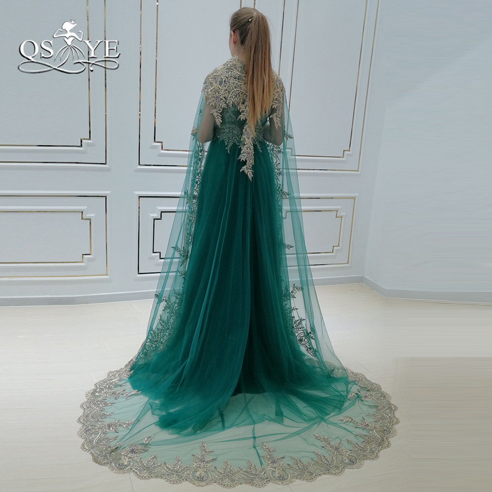 1cd3a700b77b6 QSYYE 2018 Vintage Saudi Arabia Green Formal Evening Dresses with Cape Lace  Beaded Floor Length Tulle Long Prom Dress Party Gown-in Evening Dresses ...