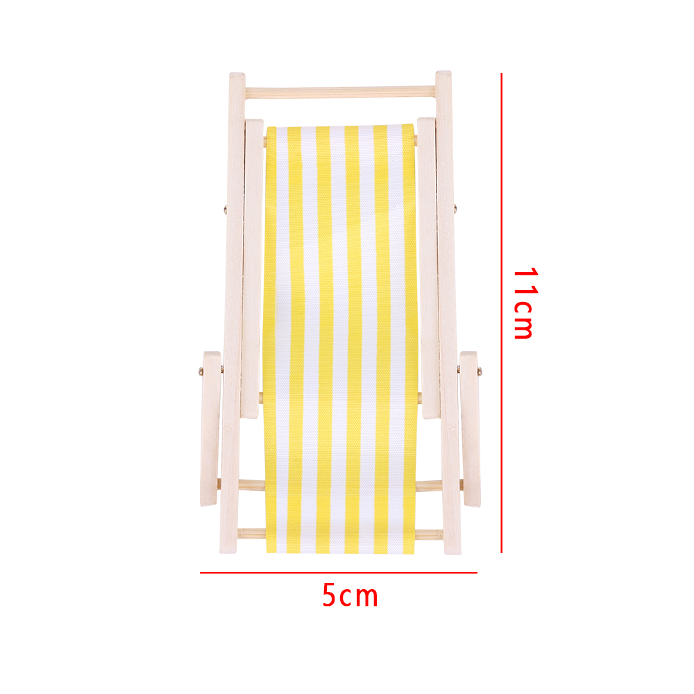 1//12 Dollhouse Miniature Furniture Wooden Lounge Chair with Yellow Striped