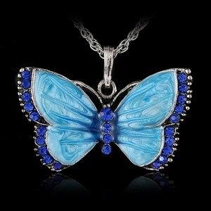Женская подвеска в виде бабочки Boho, ожерелье с бабочкой из кристаллов