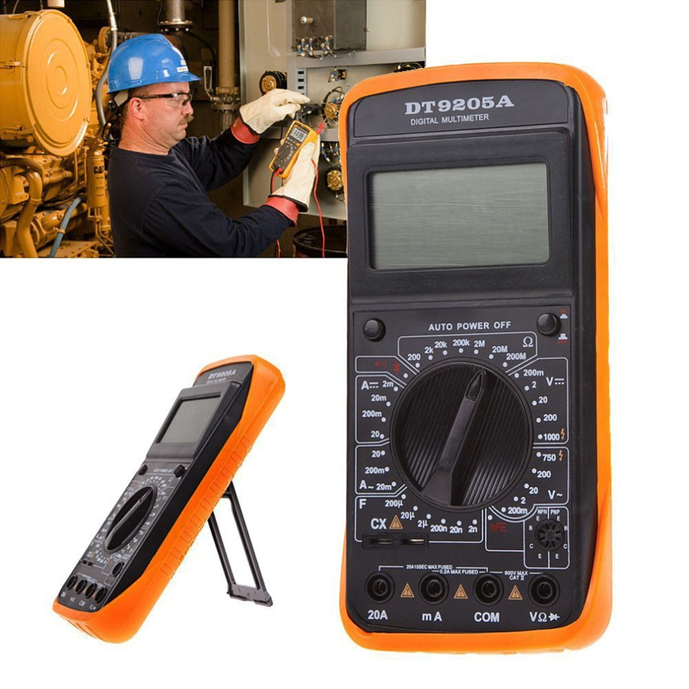 DT9205A Digital Multimeter Electric Handheld Ammeter Voltmeter Professional Resistance hFE Tester AC DC LCD