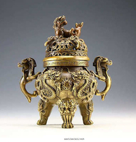 Free shipping China Rare Copper Dragon Tiger Incense Burner