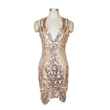 Fashion Sexy Women Vintage Gold Sequins Dress 2018 New V Neck Asymmetrical Mini Backless Club Evening Party Dresses Vestidos XXL