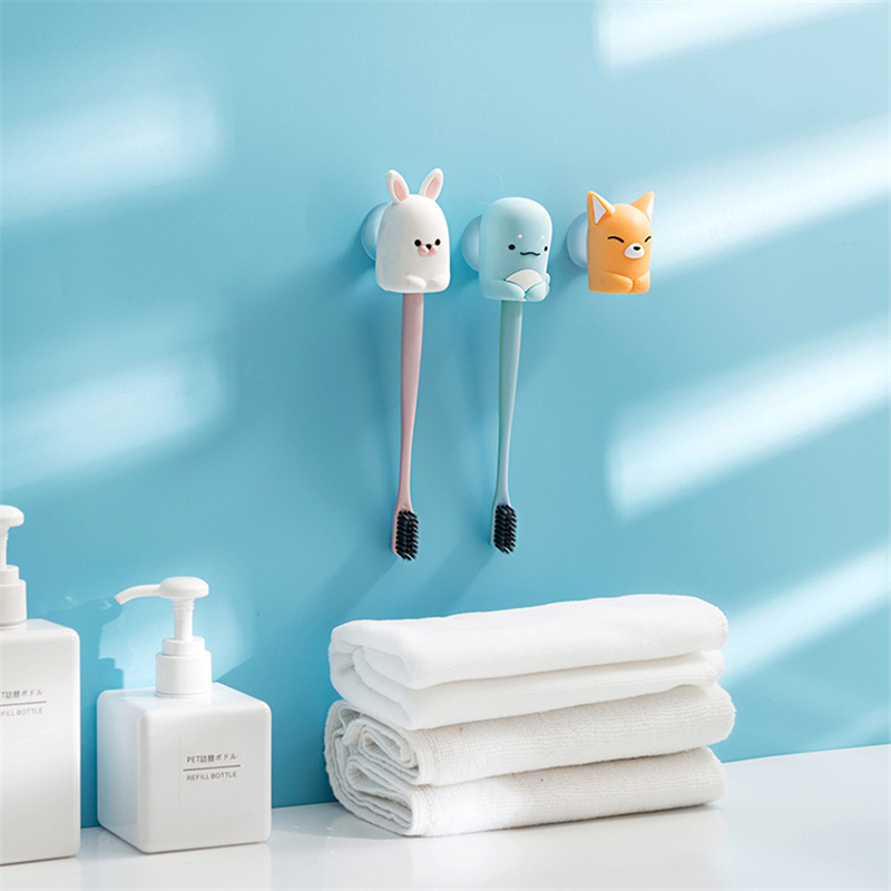 Cartoon Wall Bathroom Toothbrush Holder Multifunction Suction Cup Toothbrushes Storage Holder Shelf Organizer Toilet Accessories