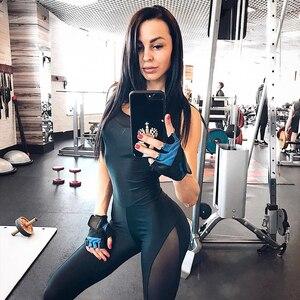 Image 5 - 2019 frau Sportswear Yoga Set Mesh Patchwork Schwarz Sport anzug Overall Fitness kleidung sport tragen für frauen gym kleidung