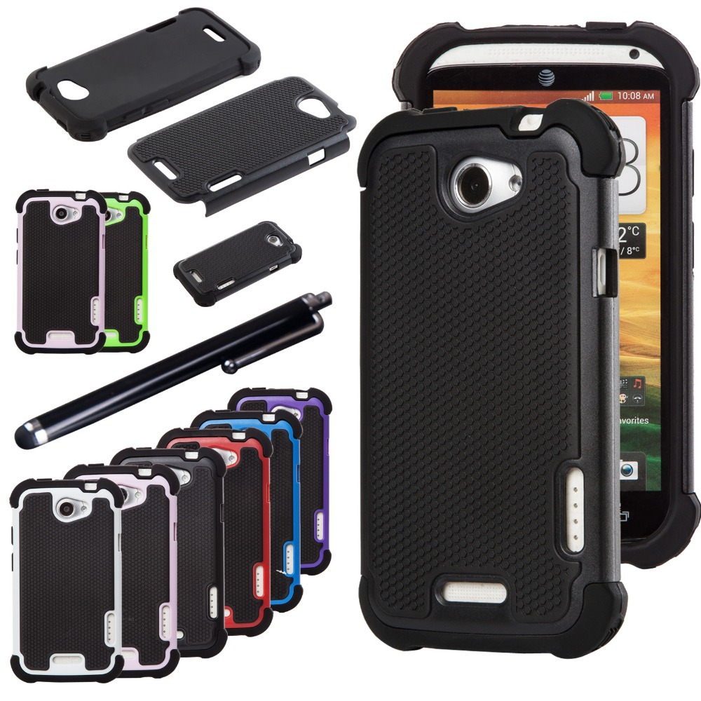 online store f3fed cd9ad Dual Layer Case Rugged Silicone Hybrid Hard Protect Cover For Case HTC ONE  X AT&T Phone Cases w/Stylus Pen-in Fitted Cases from Cellphones & ...