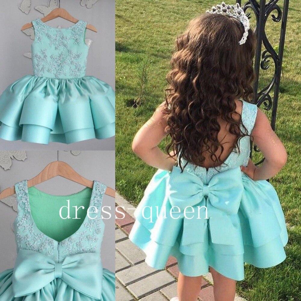 Бисером Синего атласа Tieres маленьких Нарядные платья день рождения платье для маленьких девочек