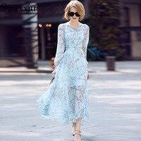 Svoryxiu 2018 Summer Runway Dress Women S High Quality Boho Holiday Beach Dress Appliques Floral Print