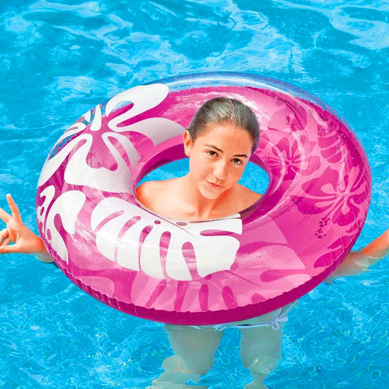 Rooxin 90cm Inflatable Swimming Ring For Kids Hibiscus Women Swimming Circle Pool Party Tool Float Swim Boat Air Mattress
