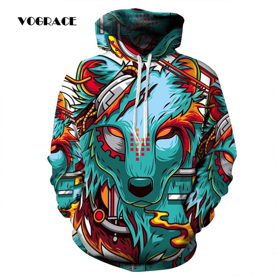 VOGRACE 2017 Yeni Sıcak Moda Erkek/Kadın 3d Spor kazak Baskı Kurt Sarı Gözleri Hoodie Kapşonlu Elbise Üst Hoody çift