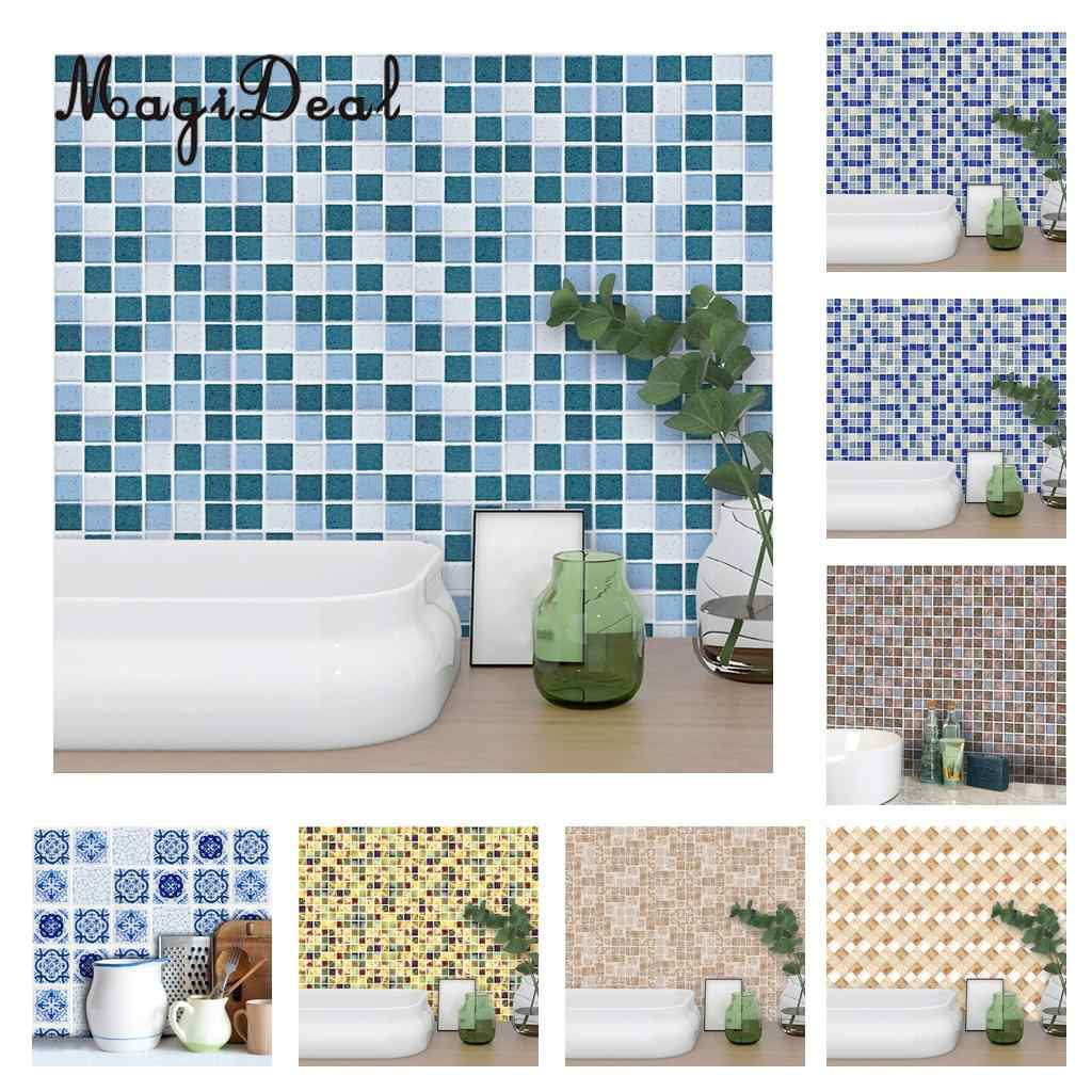 magideal peel stick 3d self adhesive mosaic wall tile sticker wall paper vinyl film water resistant wipe clean for kithchen bath