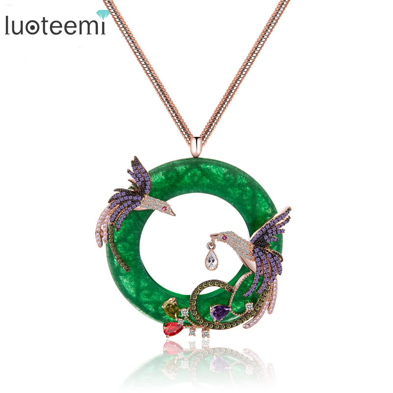 LUOTEEMI Fashion Exquisite Rose Gold Color Colorful CZ Micro Paved Double Phoenix Birds Animal Pendant Long Sweater Necklaces