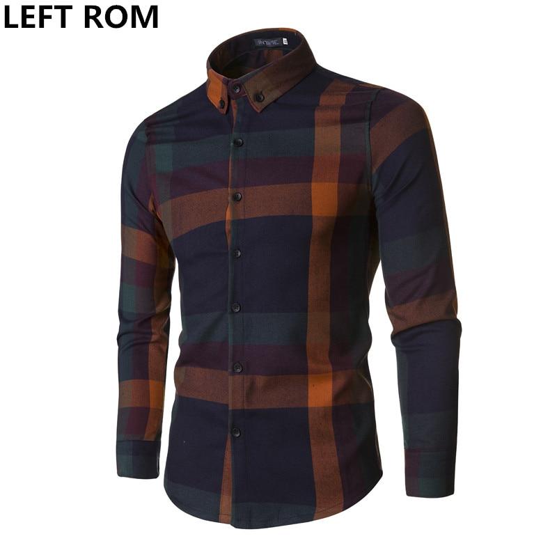 LEFT ROM Autumn Casual Fashion Men's shirt Long Sleeve Plaid Shirts Mens Shirts Slim Fit Grid Dress Shirt Men Clothing Size XXXL