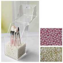 Makeup Brush Holder Organizer Transparent Storage Box Pearl Make Up Brushes Holder Empty Holder Cosmetic Tools(China)