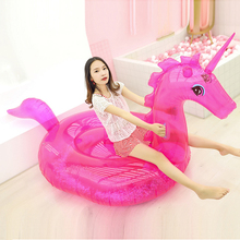 240CM Giant Inflatable Transparent Unicorn Swimming Pool Float  Boia Piscina Inflatable Pool Float Child&Adult Water Toys boias 1 25 1 35 m inflatable unicorn giant water sprinkler pool float swim ring pegasus floating swim float toys child