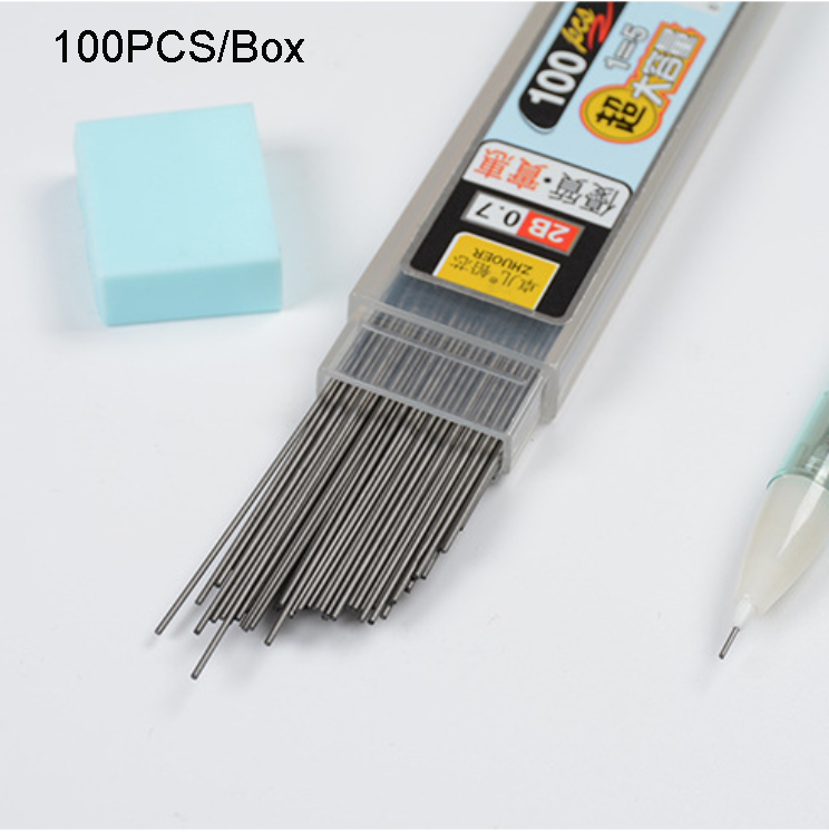 100Pcs/Box Graphite Lead 2B Mechanical Pencil Refill Plastic Automatic Replace Pencil Lead 0.5,0.7 Promotion