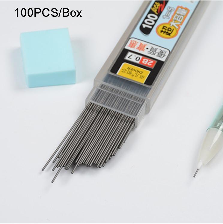 100Pcs/Box Graphite Lead 2B Mechanical Pencil Refill Plastic Automatic Replace Pencil Lead 0.5,0.7 Promotion
