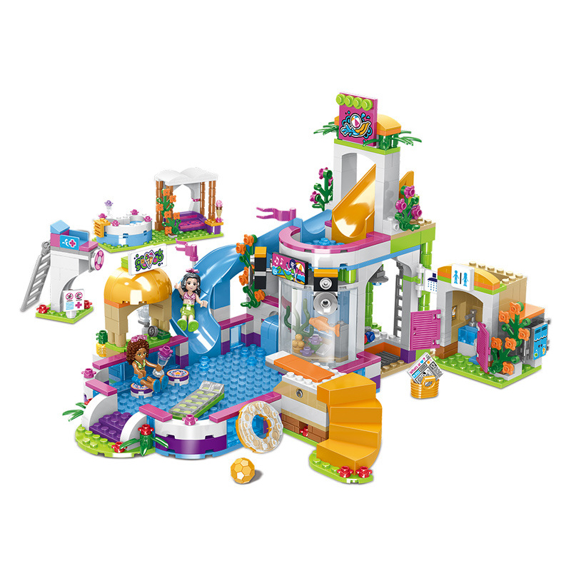 The Heartlake Swimming Pool Friends Building Blocks Compatible with 37029 Kits Bricks Children Toy Gift